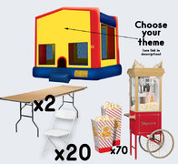 Bounce House + Popcorn Cart with 2 Tables + 20 Chairs (adult)