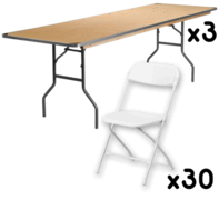 3 Tables + 30 Chairs