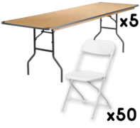 5 Tables + 50 Chairs