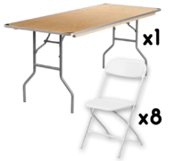 1 6FT Table + 8 Chairs