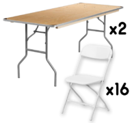 2 6FT Table + 16 Chairs