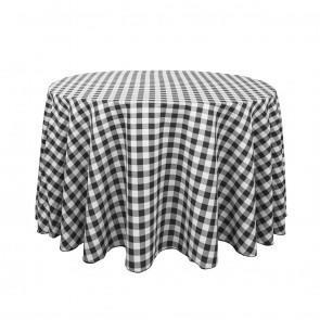 120 in. Round Black/White Check
