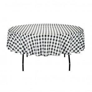 90 in. Round Black/White Check