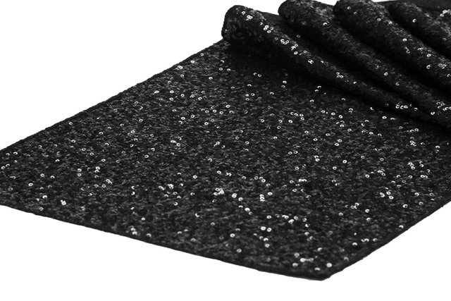 Table Runner Black Sequin