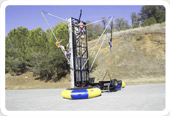 Combo bungee trampoline and rock wall