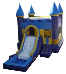 Blue Castle w/Slide and bb hoop and water tub