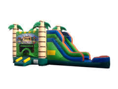 Tiki Bounce and Water Slide Combo