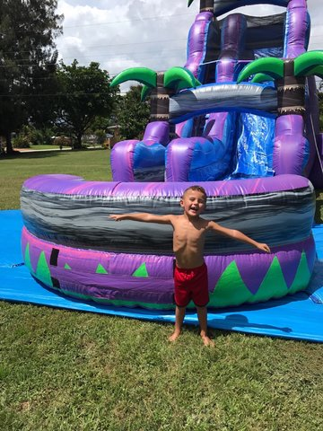 Purple Crusher 22ft Water Slide w/ Pool