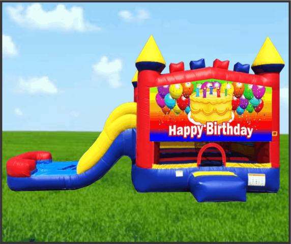 Happy Birthday Cake 4 in 1 Combo Water Slide
