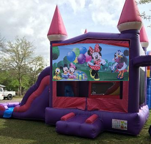 Pink Castle Minnie Mouse Combo Bounce House