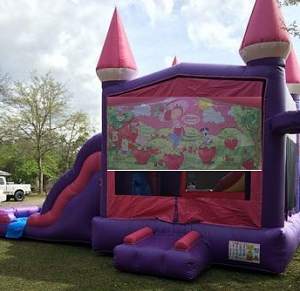 Pink Castle Strawberry Shortcake Combo Bounce House