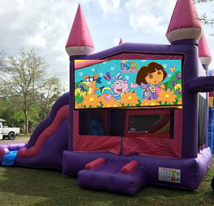 Pink Castle Dora Combo Bounce House