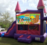 Pink Castle Luau Combo Bounce House