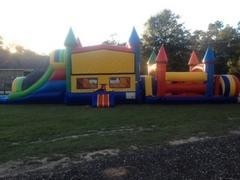 51' Mega Obstacle Course w/Castle & DRY Slide(103/103A)Best for ages 4+Size 51'L x 13'W x 14'H