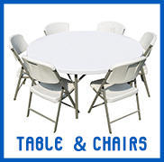 Tents, Table, Chairs