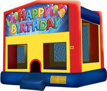 15 x 15 Happy Birthday Balloon Panel Moonwalk with Basketball Hoop