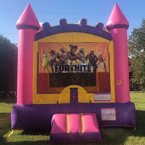 Pink Fortnite Bounce House Rental