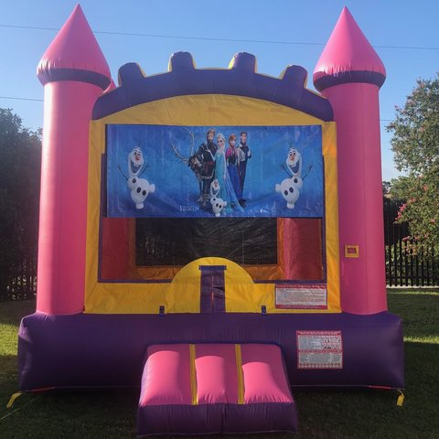 Pink Frozen Bounce House Rental