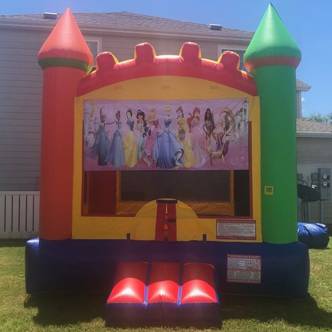 Mult-Color Princess Bounce House Rental