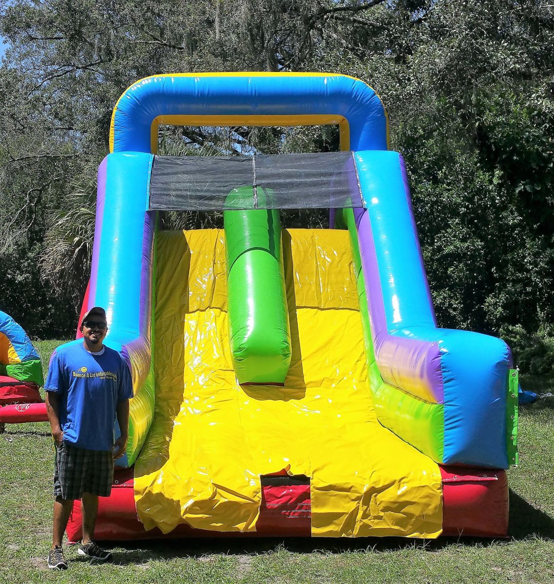 53ft Retro Dry Two Lane Obstacle Course Slide Bounce House