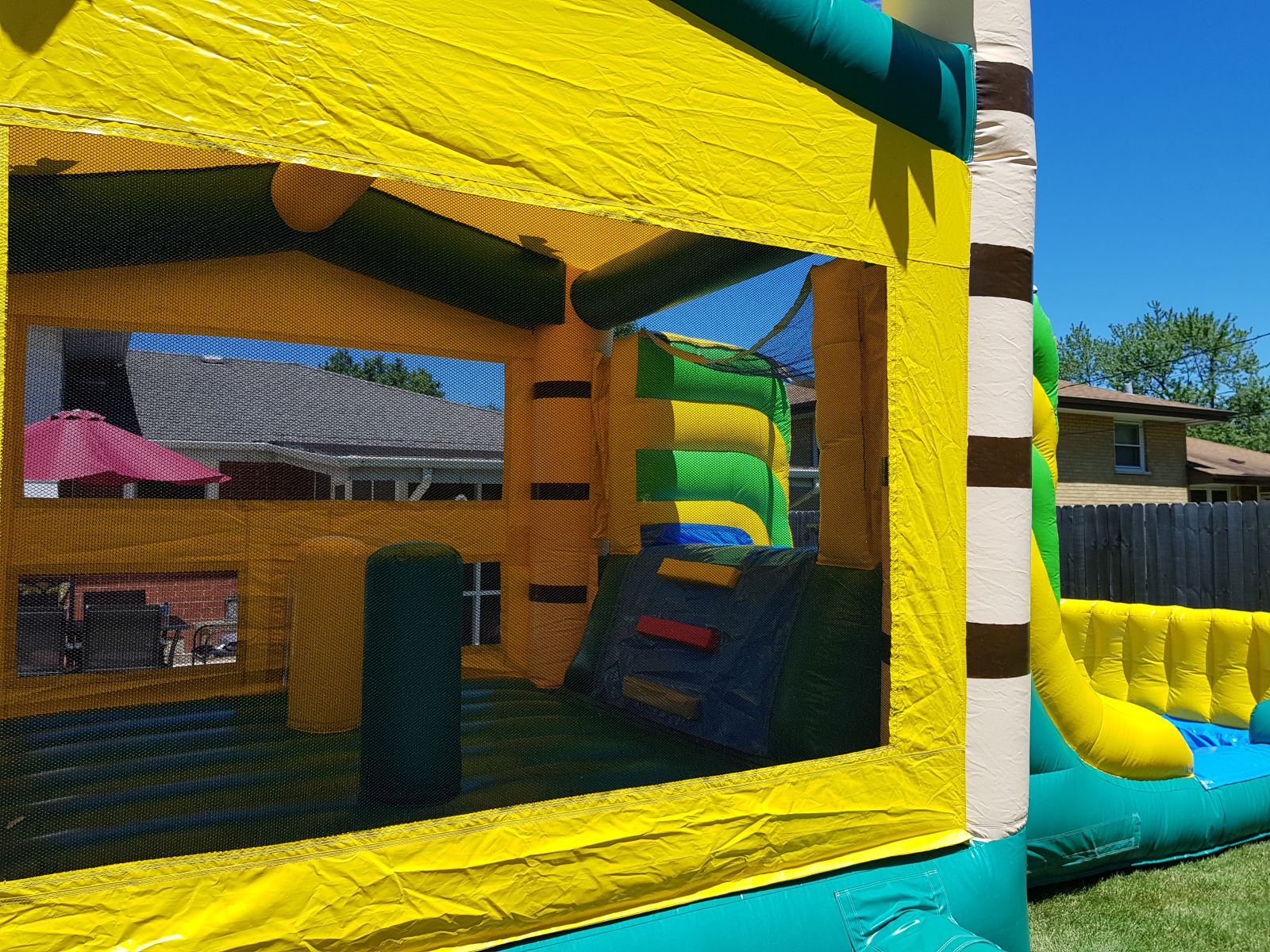 Bounce House With Slide and Pool, also Called an Inflatable Rental. Rent this inflatable for your party!