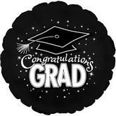 Congrats Grad black and silver 18 inch item 064