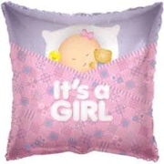 Its a Girl Pillow 18 inch foil item 035