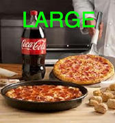 Adult large pizza and 2 liter soda