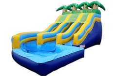 <b><font color=blue><b>16 ft. Tropical Dual Lane W/Pool</font><br><small>Best for ages 4+<br> <font color=red>Space Needed 28 W x 34 D x 16 H</font></b></small>