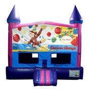 Curious George Birthday Bounce House (Pink) with Basketball Goal