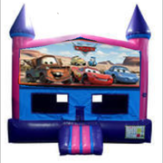 Cars Panel Bounce House (Pink) with Basketball Goal