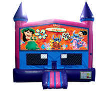 Lilo and Stitch Bounce House (Pink) with Basketball Goal