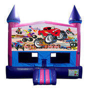 Monster Truck Bounce House (Pink) with Basketball Goal