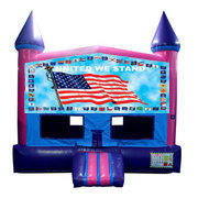 United We Stand Bounce House (Pink) with Basketball Goal