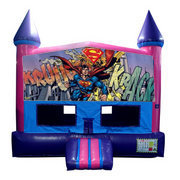 Superman Bounce House (Pink) with Basketball Goal