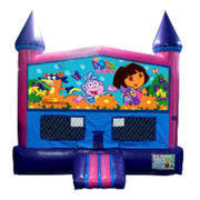 Dora Bounce House (Pink) with Basketball Goal