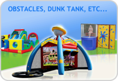 Obstacles courses, Dunk tank, jousting, boxing ring, interactives