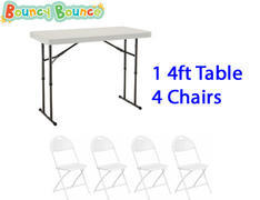 Package: 1 4ft Adjustable Height Table & 4 Chairs