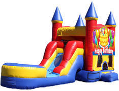 5-in-1 Castle Combo with Slide - Birthday Cake (Dry)