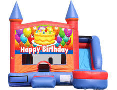 6-in-1 Castle Combo with Slide - Birthday Cake (Dry)