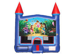 Blue & Red Castle Bounce House - Tinker Bell