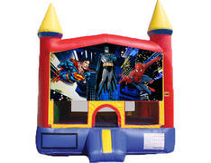 Red & Yellow Castle Bounce House - Superheroes