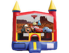 Red & Yellow Castle Bounce House - Cars