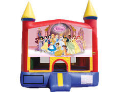 Red & Yellow Castle Bounce House - Princesses