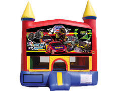 Red & Yellow Castle Bounce House - Race Cars