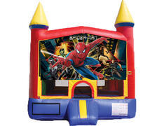 Red & Yellow Castle Bounce House - Spiderman