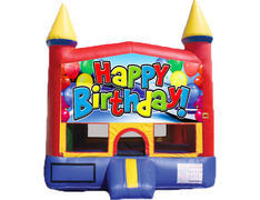 Red & Yellow Castle Bounce House - Happy Birthday