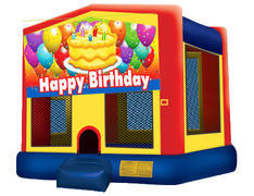 Yellow, Red & Blue Bounce House - Birthday Cake