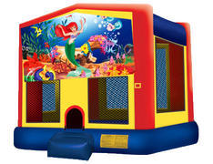 Yellow, Red & Blue Bounce House - Little Mermaid
