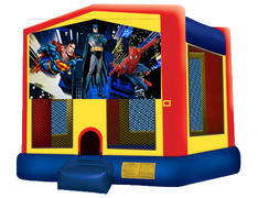 Yellow, Red & Blue Bounce House - Superheroes